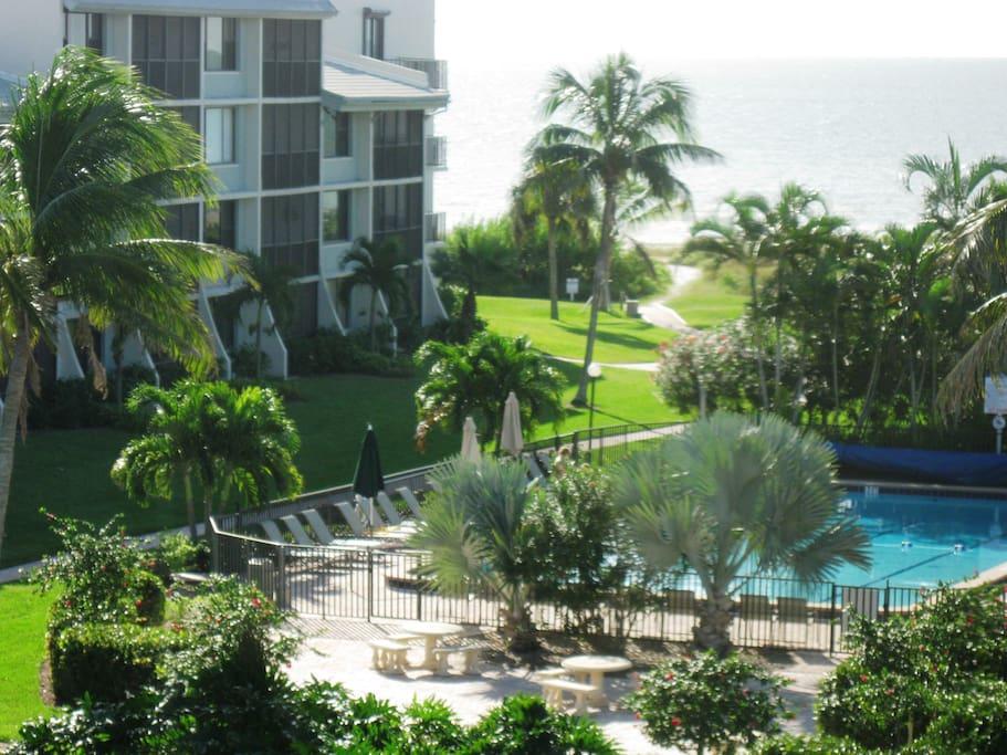 View from Screened Lanai toward the Pool & Beach.  Stroll down for sun & a swim!