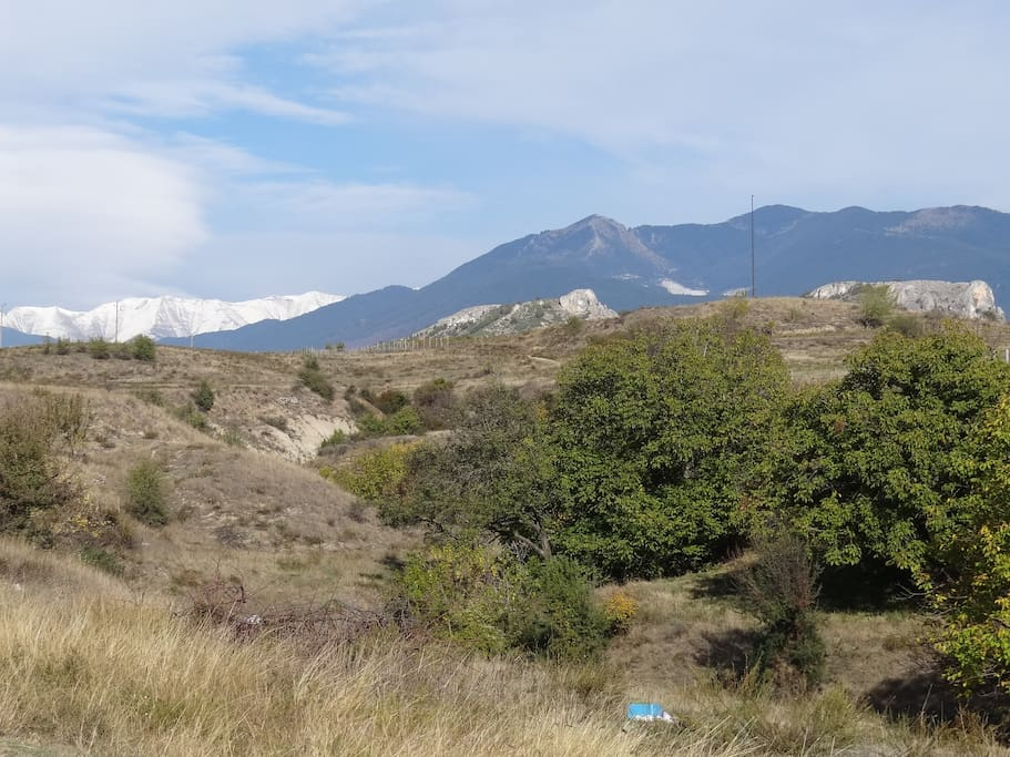 View from the front side of the house on the Pirin Mountains