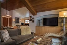Cozy living room with large flat screen HD TV