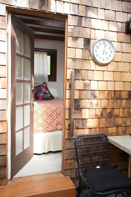 Door opened onto the sleeping cottage