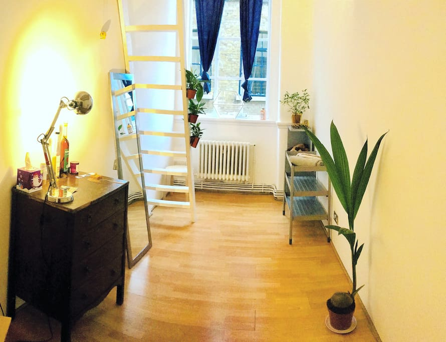 The room has a character: there's a coco palm, a vintage chest of drawers, a full-size mirror and a ladder to the loft bed
