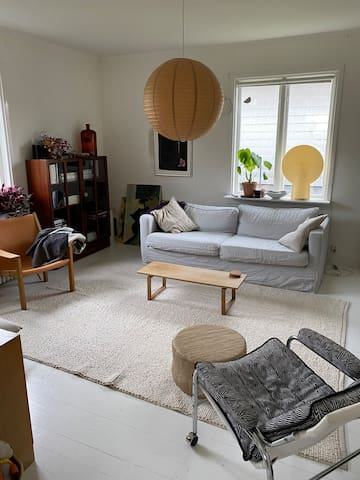 Living room on first floor. Lots of social space.