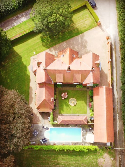 Fairfield House; Aerial View of the main house and Lodge