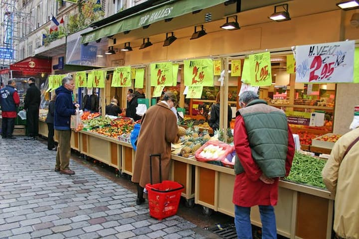 The nearby Rue Cler market, Paris, France