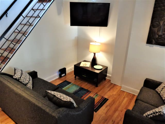 The living area has a sofa bed with extra linens in coat closet, comfortably accommodating 2 additional guests. A large smart TV for entertainment, includes free Netflix and YouTube TV.