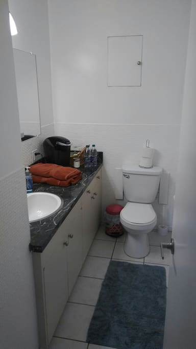 The private bathroom attached to the bedroom.  Complete with a Keurig coffee maker.