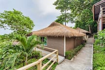 Villas positioned upon the hillside and offer the most spectacular views over the treetops to the Andaman Sea