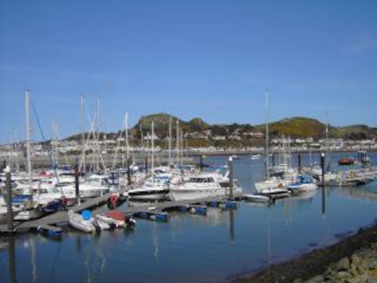 View from the house across the Marina to Deganwy and the Vardre