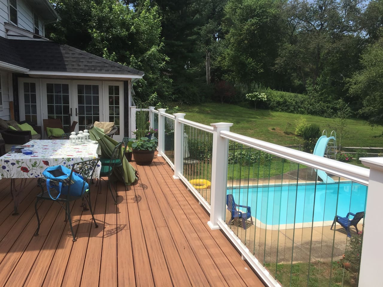 The deck and the pool are lovely places to hang out in the summer. The deck also has two gas heaters which makes it quite cosy in the fall and spring.