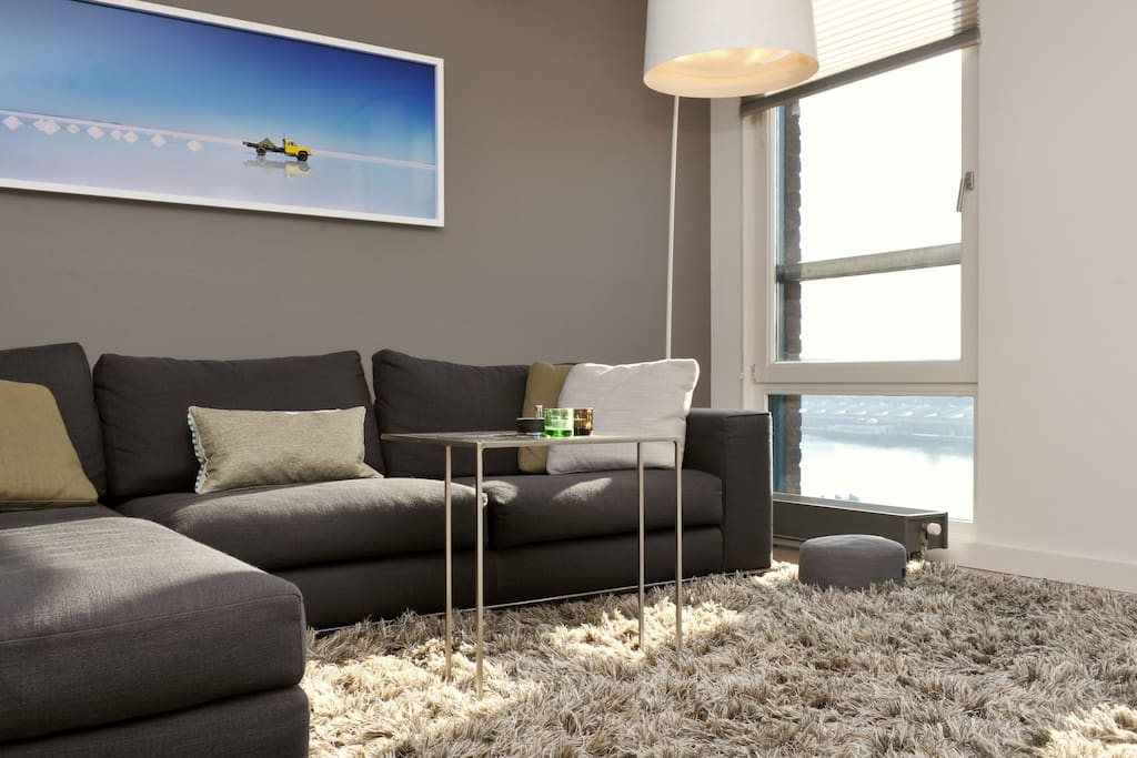 Comfortable couch with nice view