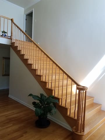 The room at the top of the stairs.