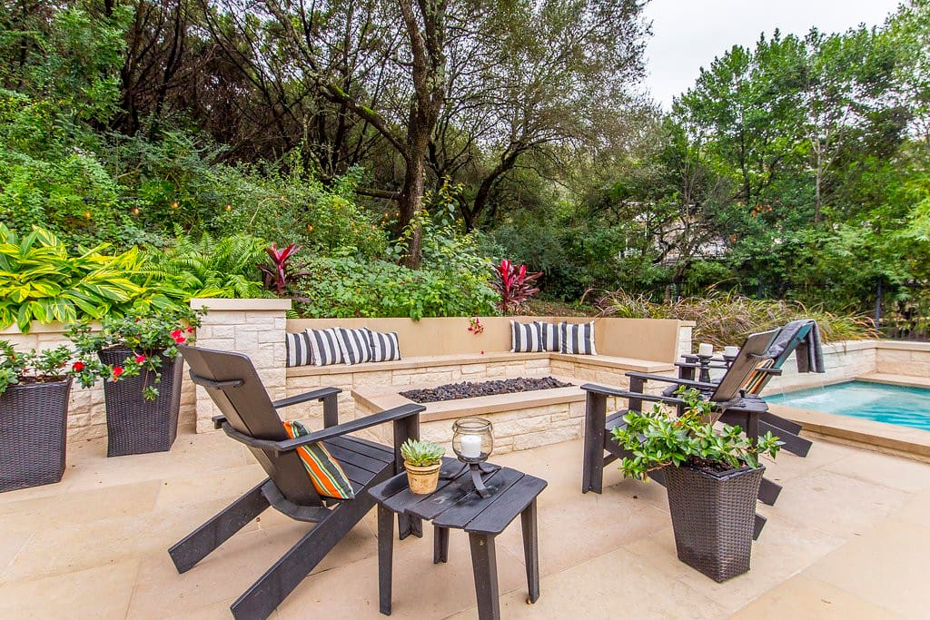 Outdoor Seating that surrounds a Fire Pit