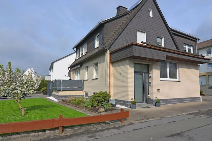 Pretty holiday home with a balcony complete with awning in Meschede in northern Sauerland