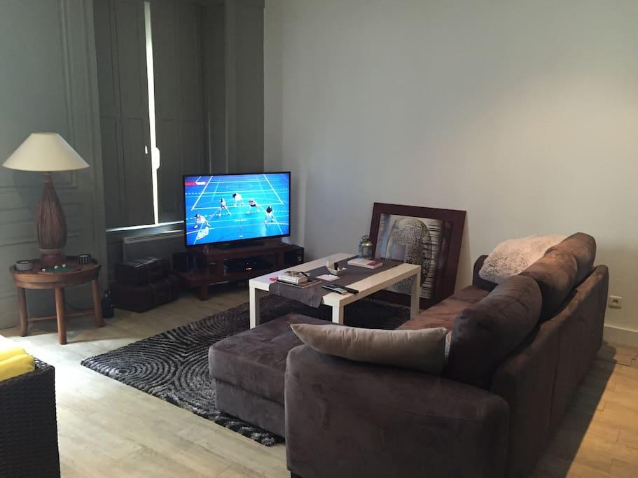 partie salon avec TV et internet