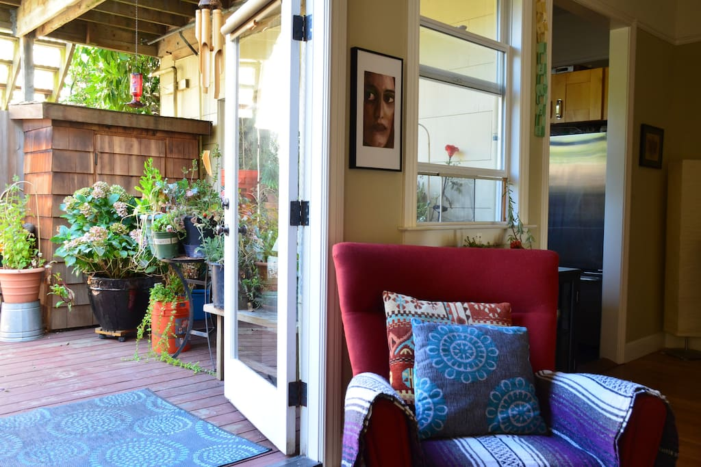 Container garden on back deck; fun sights and smells!