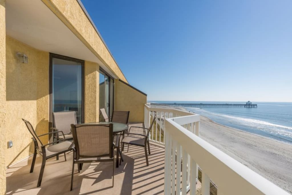 Private Oceanfront Balcony - View of Folly Pier