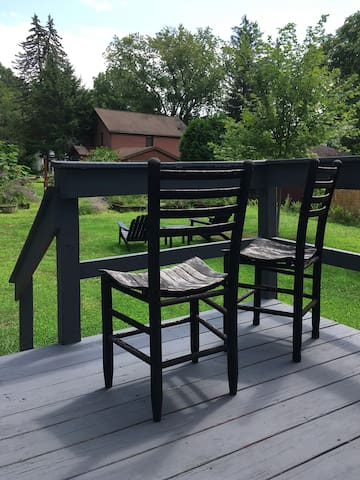 Your private deck overlooks the yard and garden