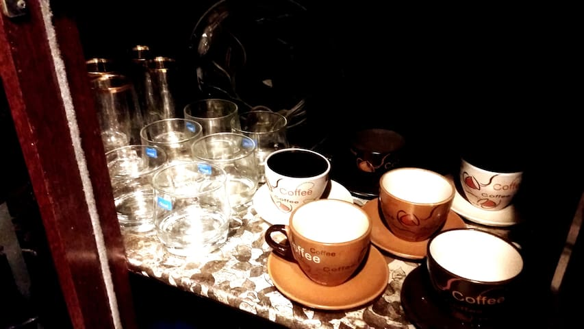 * Kitchen Full Of Equipments  * All kinds of cups in different sizes and figures  * All Kind of Coffee cups with many sizes and figures
