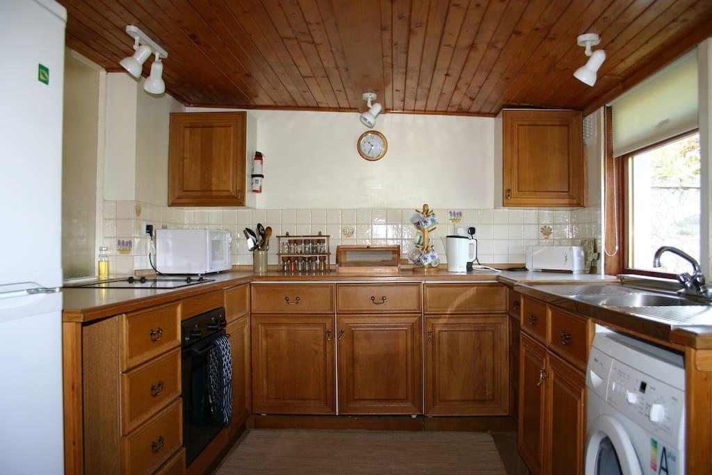 kitchen in woodcraft cottage.