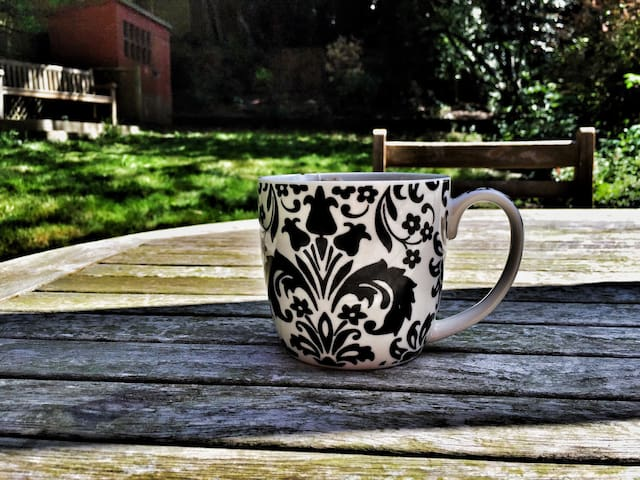Morning coffee with only the sound of birds singing