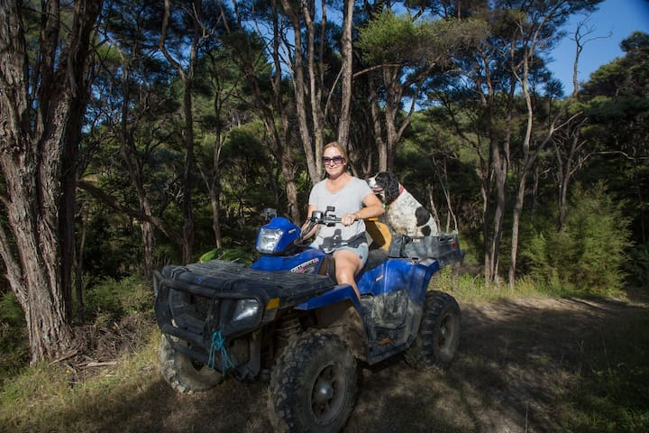 Meet me, Karen, your host, on a quad bike, pretty fun across the farm.