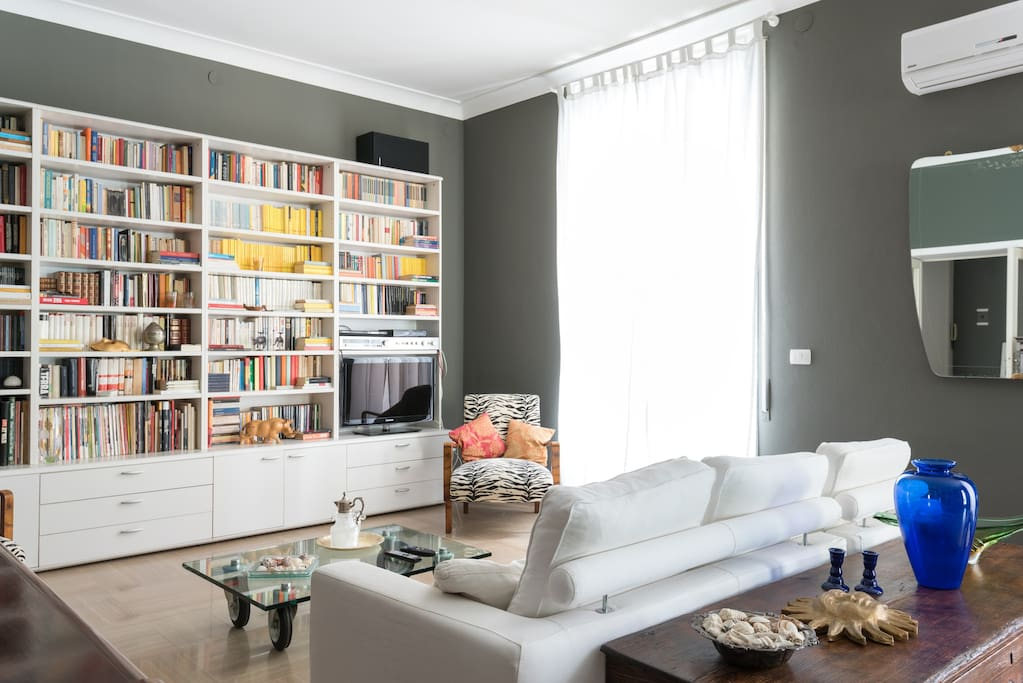 Library and comfortable sofa into the large living room