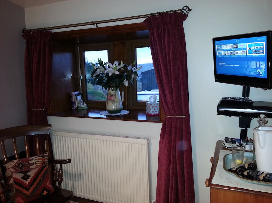 TV with Freeview and DVD.  Tea and coffee making facilities.