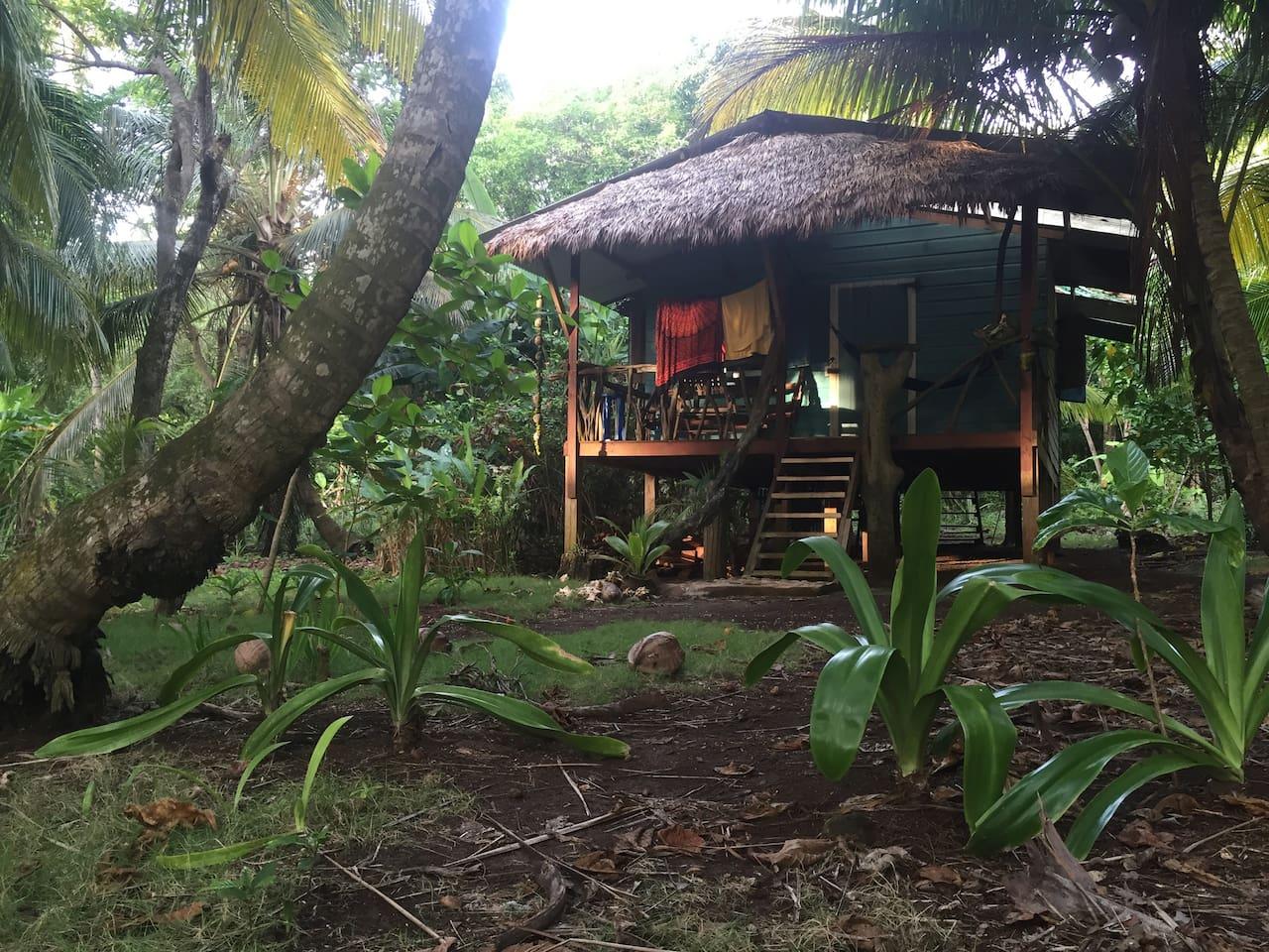 Casa Miskita. Right In front the sea.