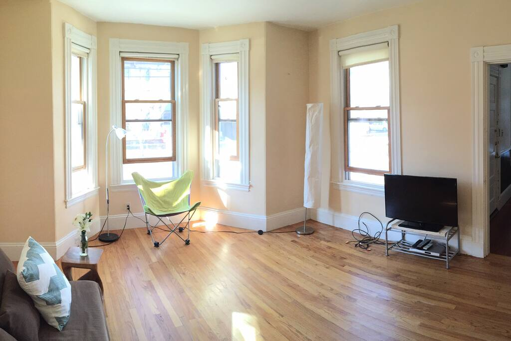 Bay windows in living room