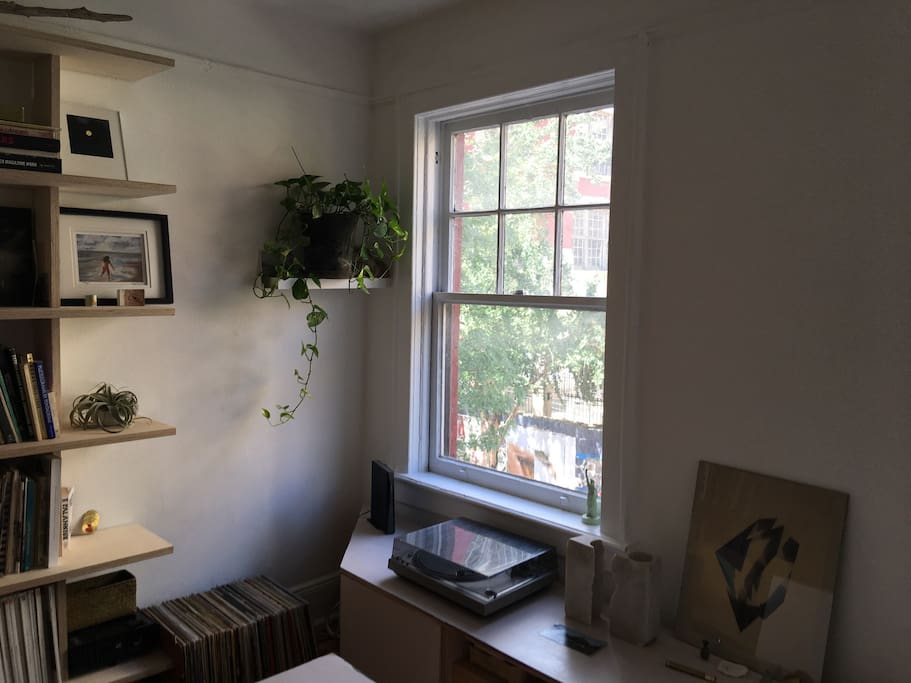 Lots of daylight. Record player shown is not in the apartment. Plant has been moved to other room. Shelf decor changes periodically.