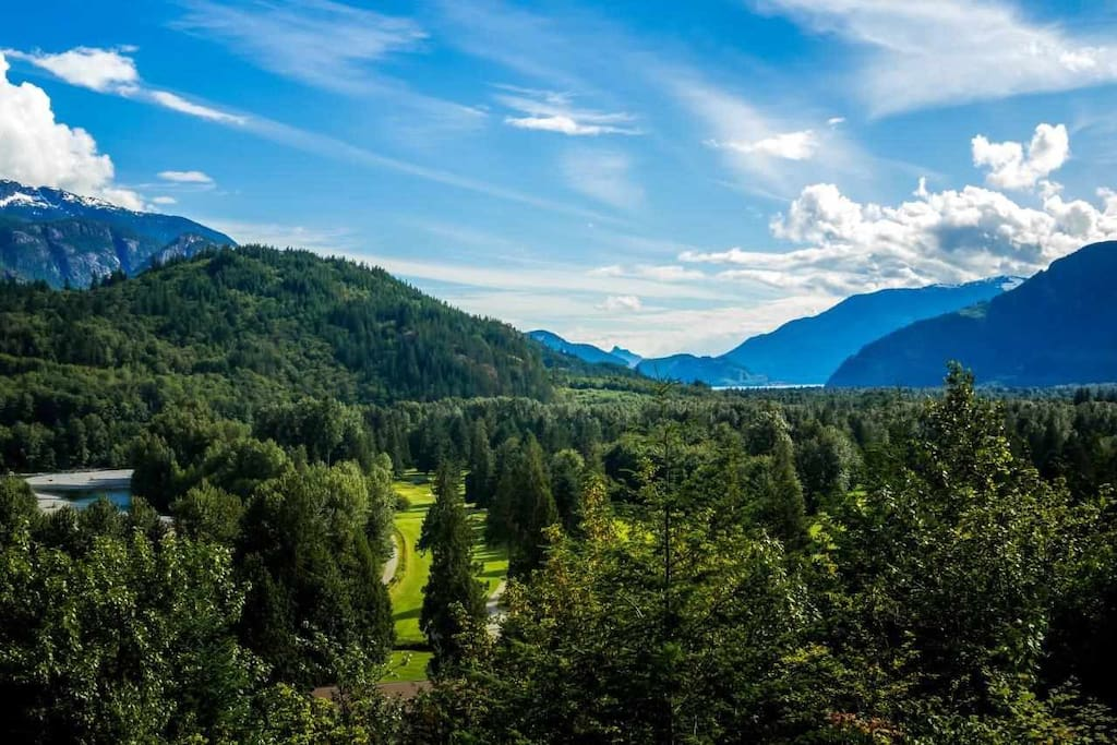 Gorgeous views of Howe Sounds, Squamish Valley Golf & Country Club, Mamquam River, and Sky Pilot