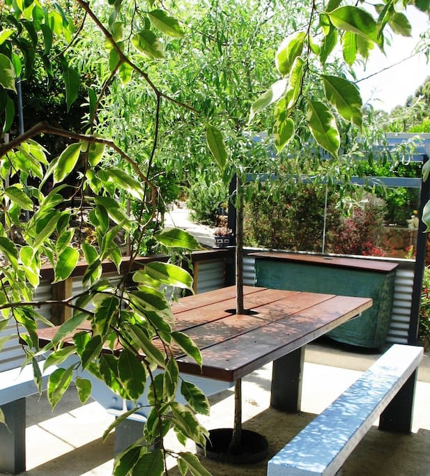 Private outdoor eating and barbeque area.