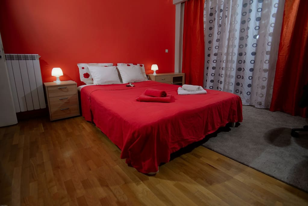 the first bedroom with air/c, fun, tv, wi-fi, small balkony ( bed 160/200)