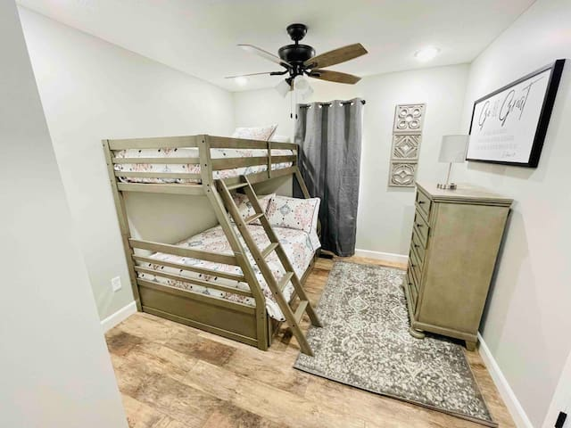 Twin over full bunkbed and chest of drawers