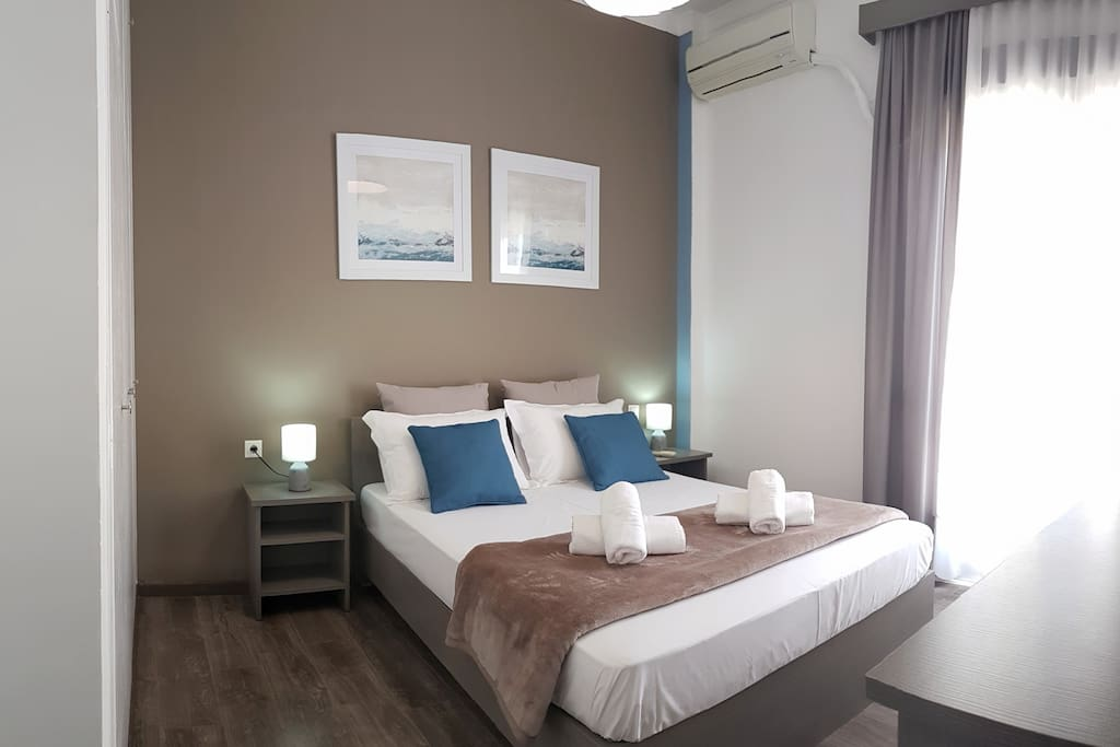 1st Bedroom: One Double bed (160x200), Air-Condition, Bedroom textiles, Wardrobe, Bedside tables