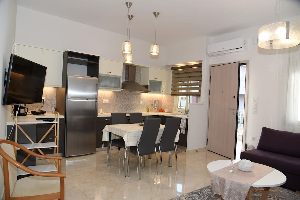 Living Room / Kitchen. The apartment is fully renovated and equipped with new appliances.