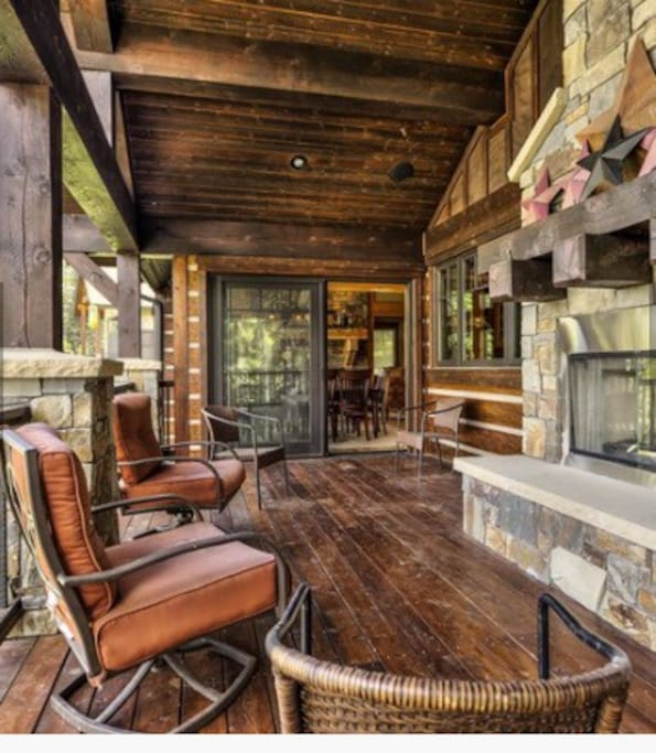 Outside Deck with Wood Burning Fireplace and Propane Barbecue Grill with Amazing Views.