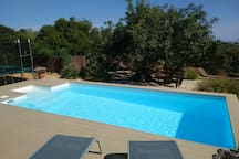The heated pool has a super efficient filtration system which keeps the water soft and sparkling and minimises chlorine