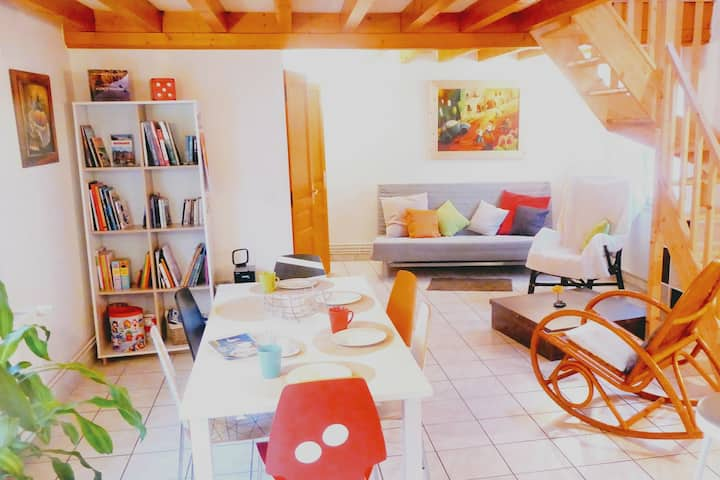house DOMINO, parking +terasse, beach 15 min walk