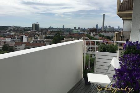 Blick über Offenbach und in den Hafen.