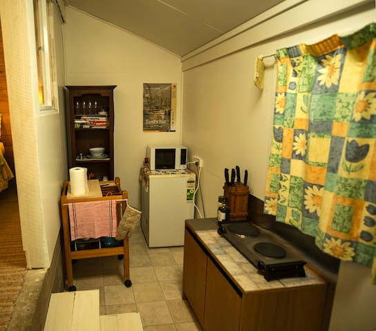 The newly enclosed (August 2016) kitchen annexe showing the cooker and crockery cupboard, bar fridge with small freezer, and the pots/pans/implements trolley.