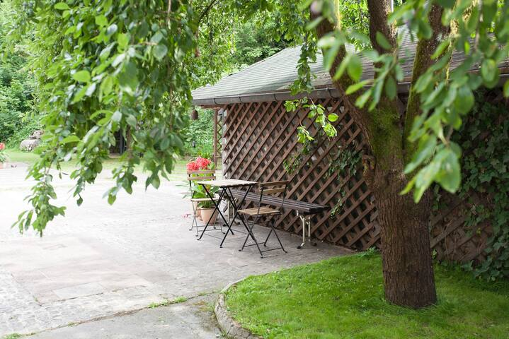 Use the garden. Small table set can be used wherever you like. Garden is big enough.