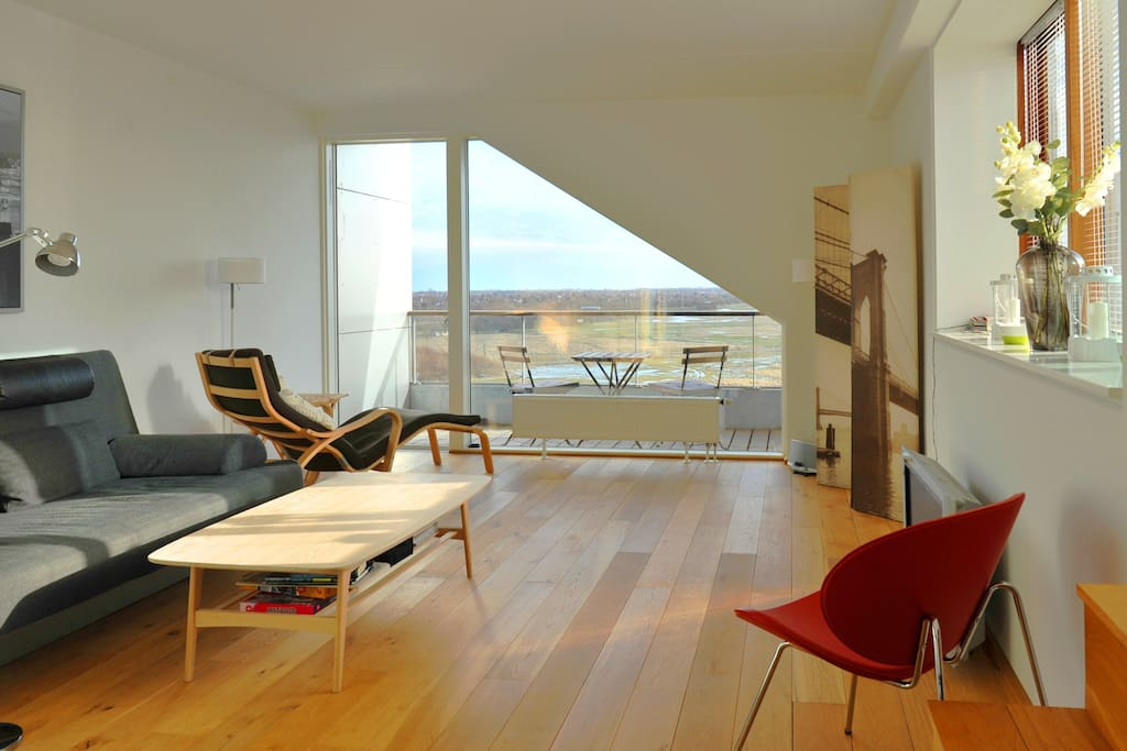 Sitting room with view to the Nature Reserve