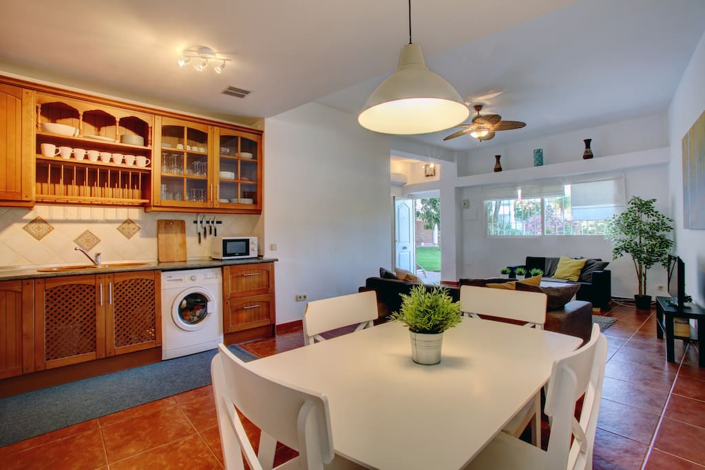 The living area is very spacious and bright. The fitted kitchen has all you need including washing machine, toaster and microwave.