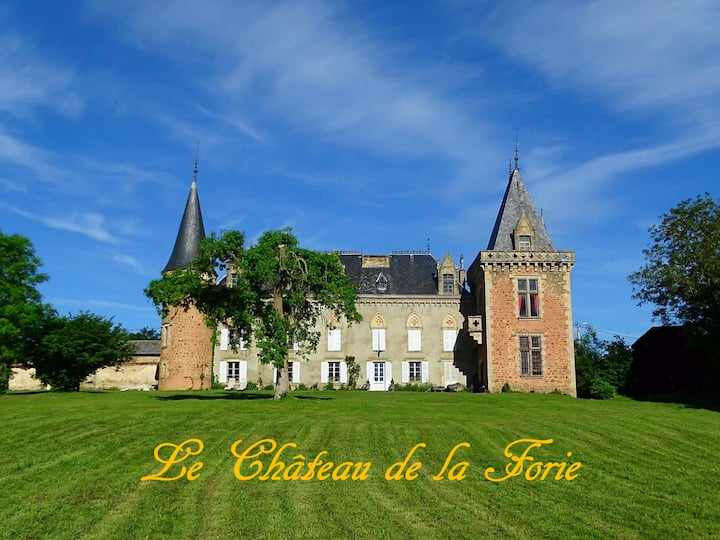 """Castle of """"La Forie"""", Bedroom, near Issoire"""
