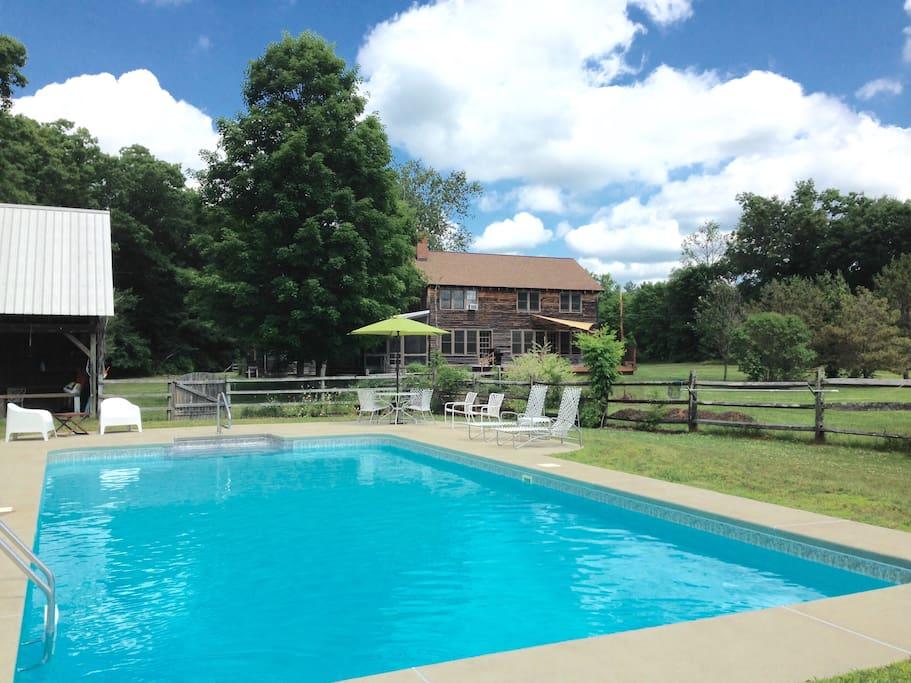 Backyard with pool.