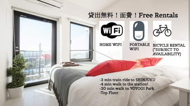 FY1/テレワークに/SHINJUKU, YOYOGI/Weekly Stay available!