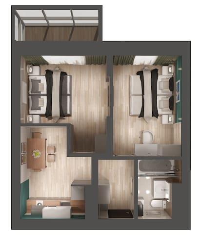 Апартаменты с 2 спальнями. Вид на Кремль. 15-20 эт