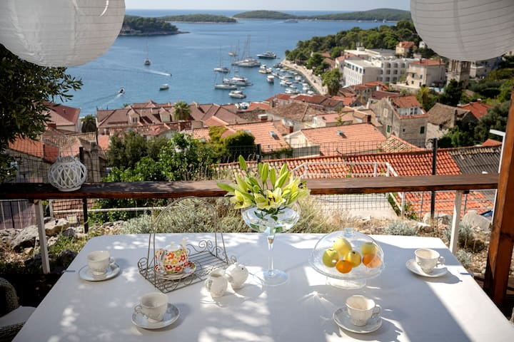 Magnificent view on Hvar port and Pakleni islands archipelago from the private garden area. Enjoy!