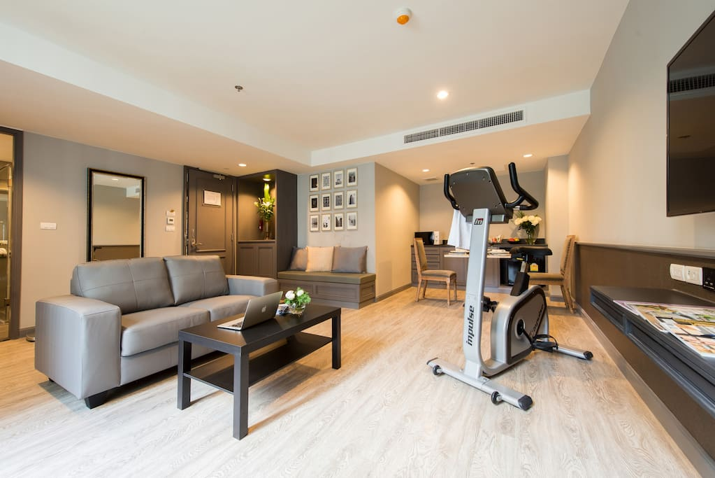 Living room with Sofa and Exercise Bike